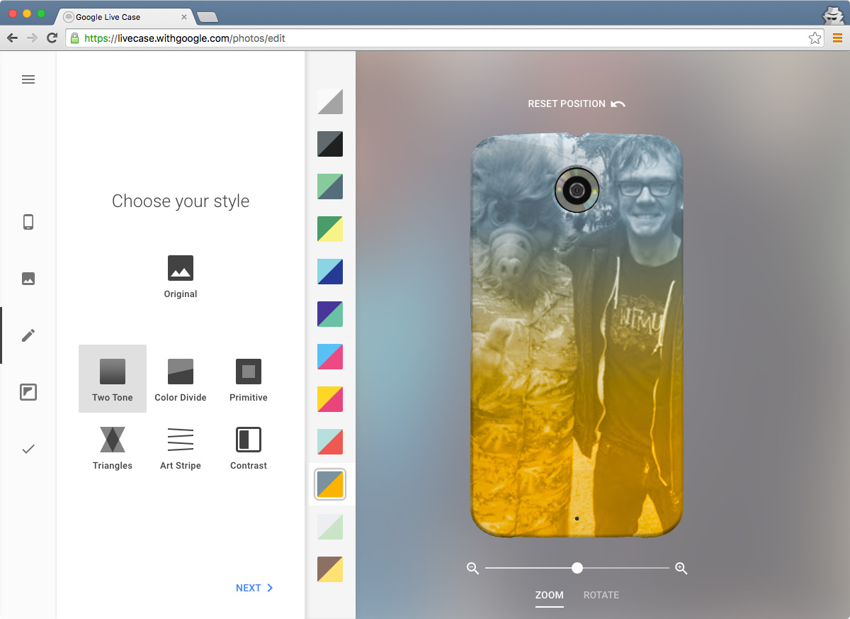 LiveCase Photos style page