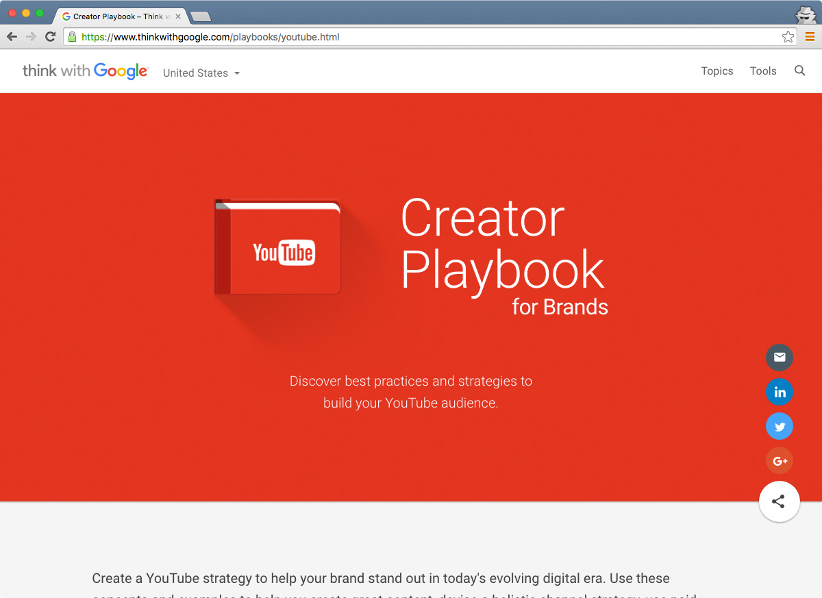 YouTube Creator Playbook home page